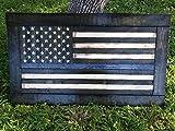 Wooden Rustic-Style Thin Blue Line American Flag w/ ebony frame (26''x44'')