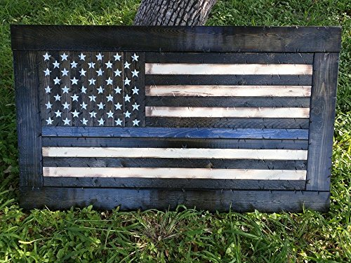 Wooden Rustic-Style Thin Blue Line American Flag w/ ebony frame (26''x44'') by Cowboy Capital Rustic Signs