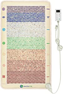 "HealthyLine Full Body Far Infrared Heating Pad with Magnetic Therapy - 7 Chakra Healing Crystals for Balancing and Self-Healing Reiki – Back and Neck Pain Relief - Medium Heated Mat 40"" x 24"" (2nd ed)"