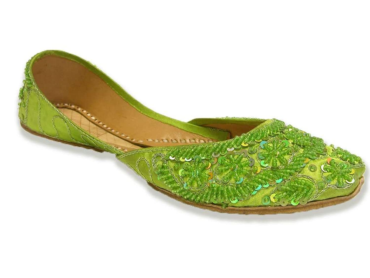 Parrot Green Beaded Indian Flats Bollywood Sari Shoes Lime Belly Dance Khussa B0722KQG3X 8 B(M) US
