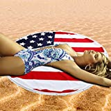 Alimao Flag Round Printing Hippie Tassel Tapestry Beach Picnic Yoga Mat Towel Blanket