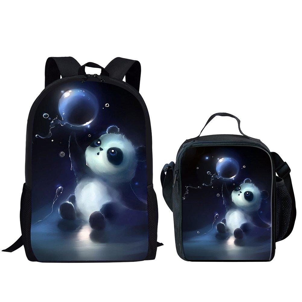 Middle School Student Backpack Lunch Bag Set For Boys Durable Large School Bag Panda Print