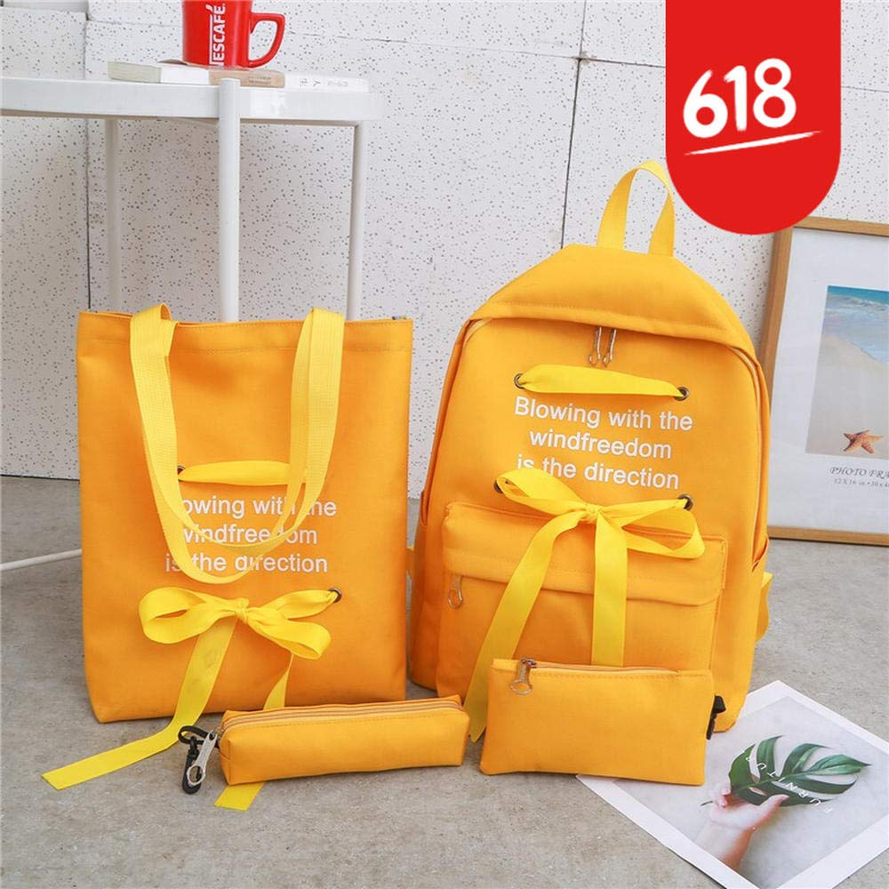 Letter yellow Meizu primary and secondary school schoolbag fourpiece suit shoulder bag new school bag female Korean version of the college wind junior high school students high school students large capacity camp