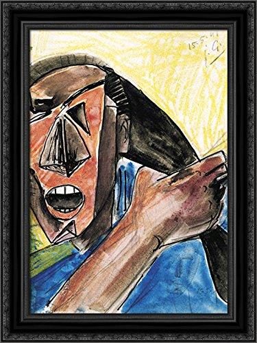Visage criant a la Grande Main 24x18 Black Ornate Wood Framed Canvas Art by Julio Gonzalez ()