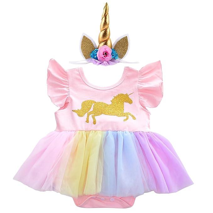 Amazon.com: Disfraz de unicornio de tutú para primer ...