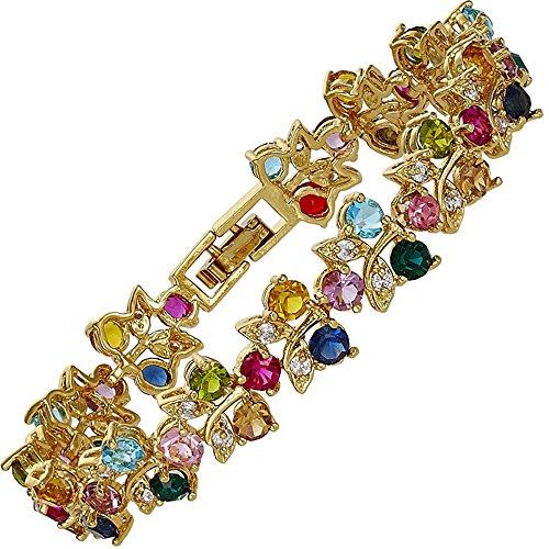 RIZILIA Tennis Bracelet & Round Cut CZ [Multi-color] in Yellow Gold Plated, (Multi Colored Rhinestone Bracelet)