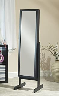 product image for Mirrotek Free Standing Combination Everything Armoire, Customizable Armoire with Full Length Mirror, Vanity Mirror, Adjustable Stand and Lock, Black Finish