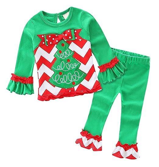 Jurebecia Girls Chritmas Outfit Kids Xmas Long Sleeve Pant Sets Kids  Christmas Costume Pajamas Green Size 237e40f76