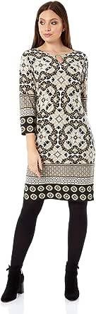 Roman Originals Vestido para mujer con estampado azteca, largo hasta la rodilla, manga 3/4, para el día o la oficina.