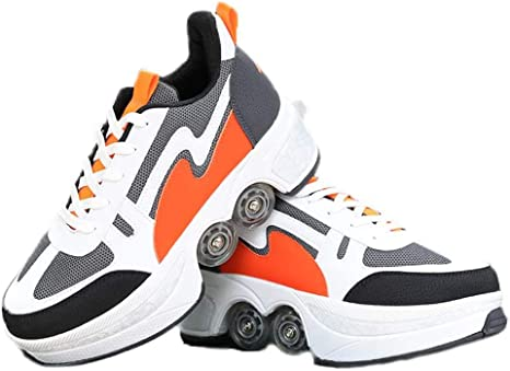 Multifunctional Roller Skates for Girls and Boys with Double-Row Deform Wheel Removable Dual Purpose Shoes for Beginner