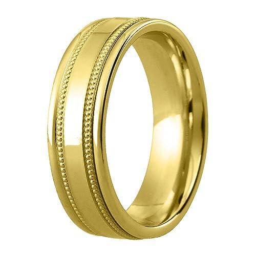 9 ct Oro Amarillo Anillo de Boda – Exquisito Diamante de corte 6 mm Banda –