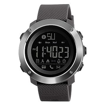 Casual Relojes Inteligentes,Hombres Deportes a prueba de agua Relojes Inteligentes Digital Reloj Bluetooth Podómetro de calorías al aire libre - mejor ...