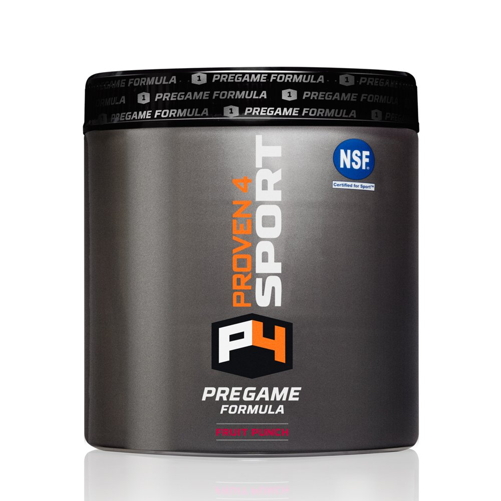Proven4 Pre-Game Formula/Pre Workout Supplement w/Creatine, Beta-Alanine, and Energy - Flavor: Fruit Punch (NSF Certified for Sport)