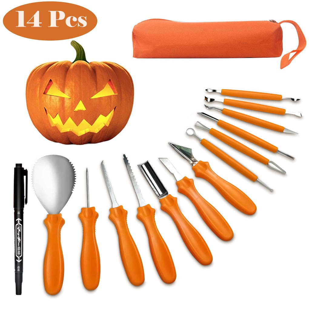 Halloween Pumpkin Carving Tools Kit, 14 Pieces Jack-O-Lantern Pumpkin Carving Tools & Stainless Steel Carving Knifes Set for Halloween Decorations by WSpring