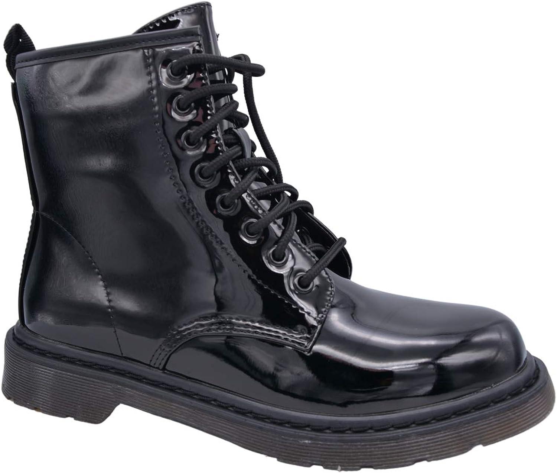 CucuFashion Black Biker Boots for Women