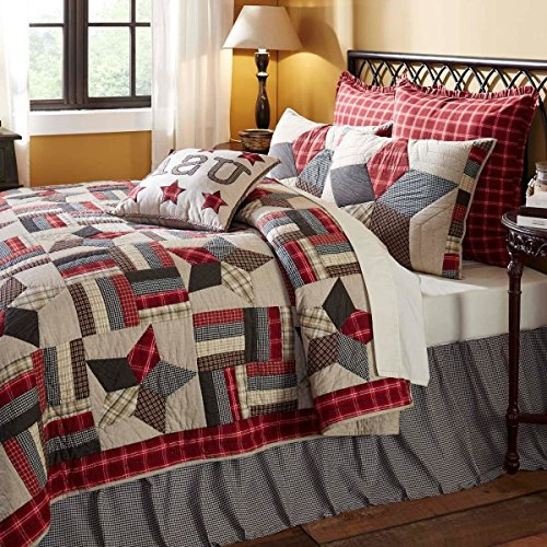 3 Piece Grey Black White Queen Quilt Set, Patchwork Pattern Themed Bedding Star Plaid Rustic Western Shabby Chic Americana Tan Khaki Navy Blue Tartan Gray, Cotton