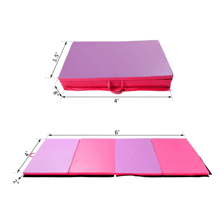 Folding Pilates Gym Mat Gymnastics Aerobics Exercise Yoga Tumbling Pink Purple -4'x6'x2'' Pink Purple