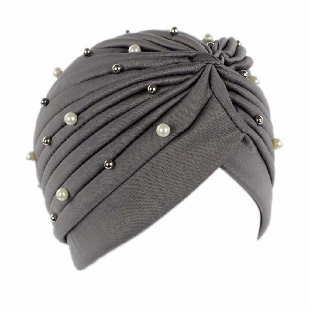 LUFA Sombrero de turbante de perlas artificial de las mujeres Sombrero de quimioterapia de las bufandas de la cabeza del cáncer de la pérdida del pelo Casquillo