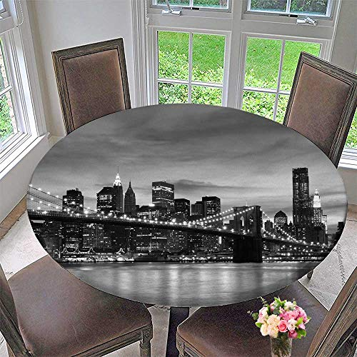 Chateau Easy-Care Cloth Tablecloth Brooklyn Bridge and Manhattan Skyline at Night New York City for Home, Party, Wedding 43.5