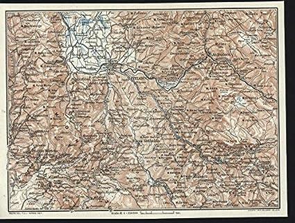Rieti Italy Map.Amazon Com Rieti Antrodoco Cittaducale Italy 1924 Vintage Color
