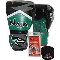 Kit Boxe Muay Thai - Luva New Extreme Verde + Bandagem (2,30 metros) Preta + Protetor Bucal Simples Transparente - Naja - 14 OZ