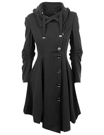 Femme Manteau Laine Parkas à Capuche Trench-coat Veste Épaise Manches  Longues Avec Ourlet Asymétrique Coat Manteaux Chaud Gabardine Outwear Hiver  Monissy  ... 596b045303b