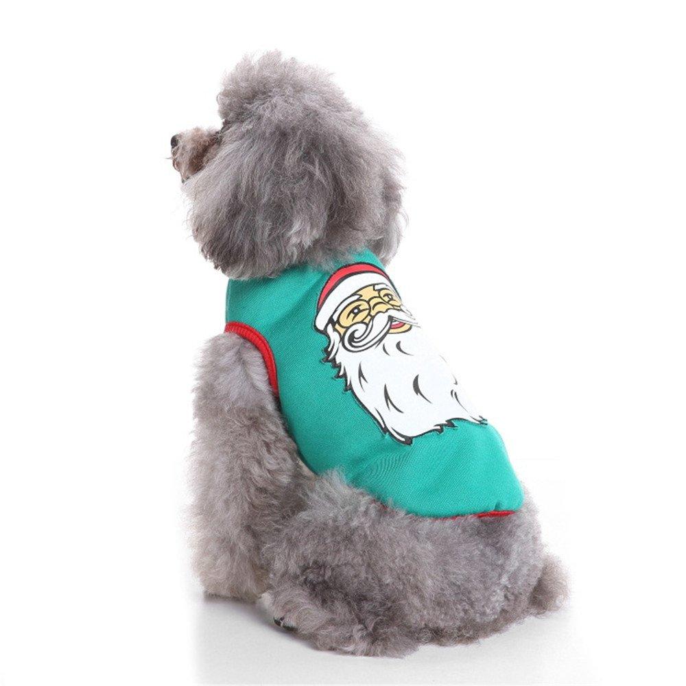 abcnature Christmas Pet Dog Cat Santa Printed Sweater Cute Shirt Clothing Coat Puppy Costume Winter Warm