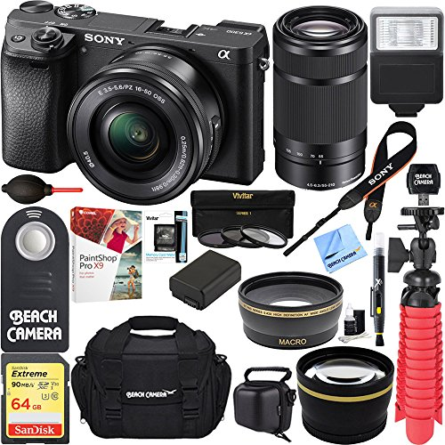 Sony ILCE-6300 a6300 4K Mirrorless Camera 16-50mm & 55-210mm Zoom Lens 64GB Kit (Black) + 64GB Accessory Bundle + DSLR Photo Bag + Extra Battery+Wide Angle Lens+2x Telephoto Lens+Flash+Remote+Tripod by Sony