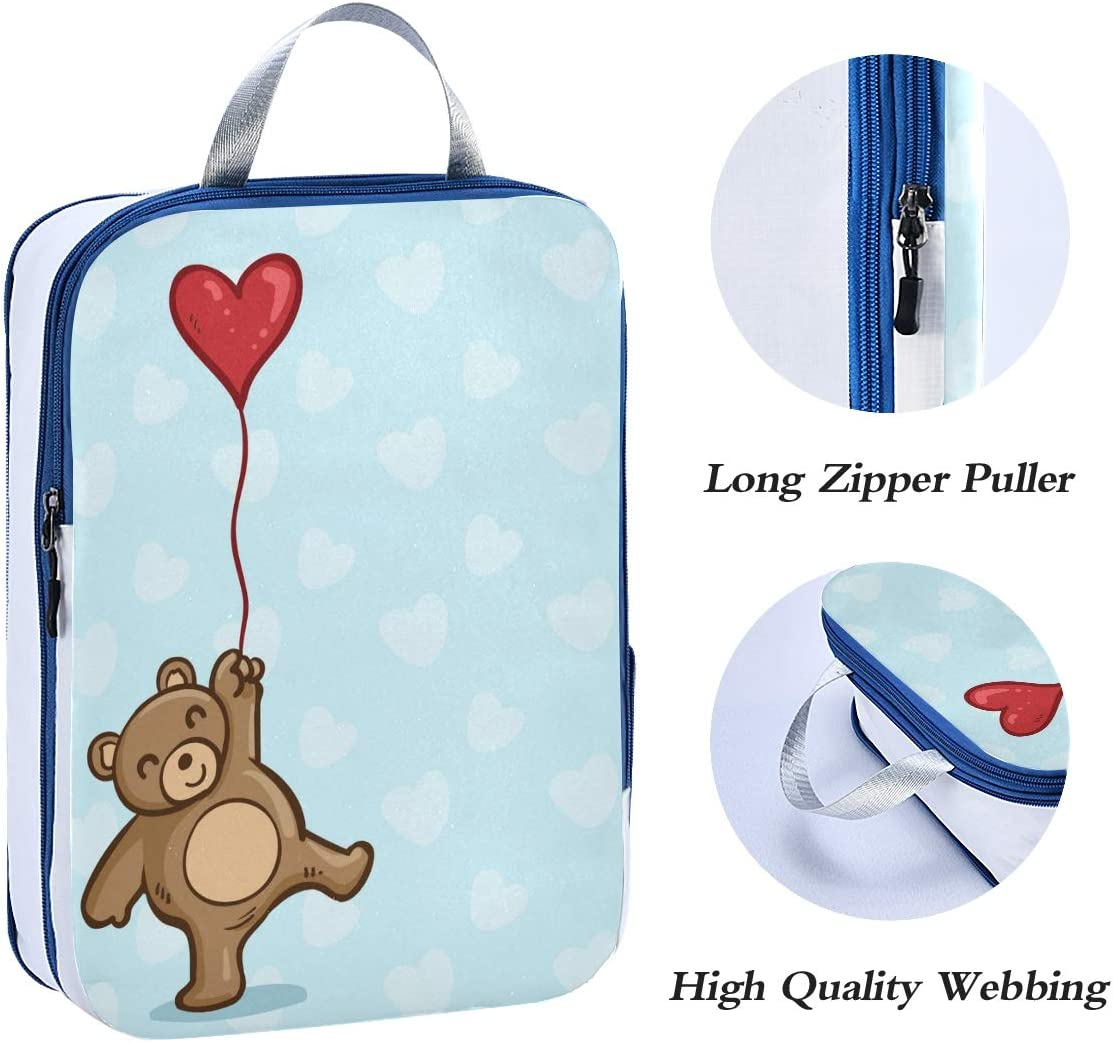 q Happy Bear 3 Set Packing Cubes,2 Various Sizes Travel Luggage Packing Organizers