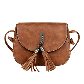 59f95aa75f31c ESAILQ Damen Mode Handtasche Quaste Umhängetasche Große Tote Damen  Handtasche (Braun)