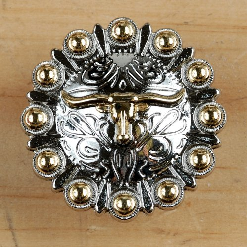 Set of 6 Longhorn Drawer Pulls Cabinet Knobs Western Southwest Decor Texas (Nickel Gold)