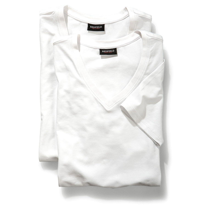 White Double V-Ausschnitt Redfield Shirt Oversize