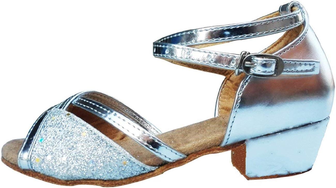 Couleur Argent Filles YF-201 Paillettes Chaussures de Danse Latin Filles Salle de Bal