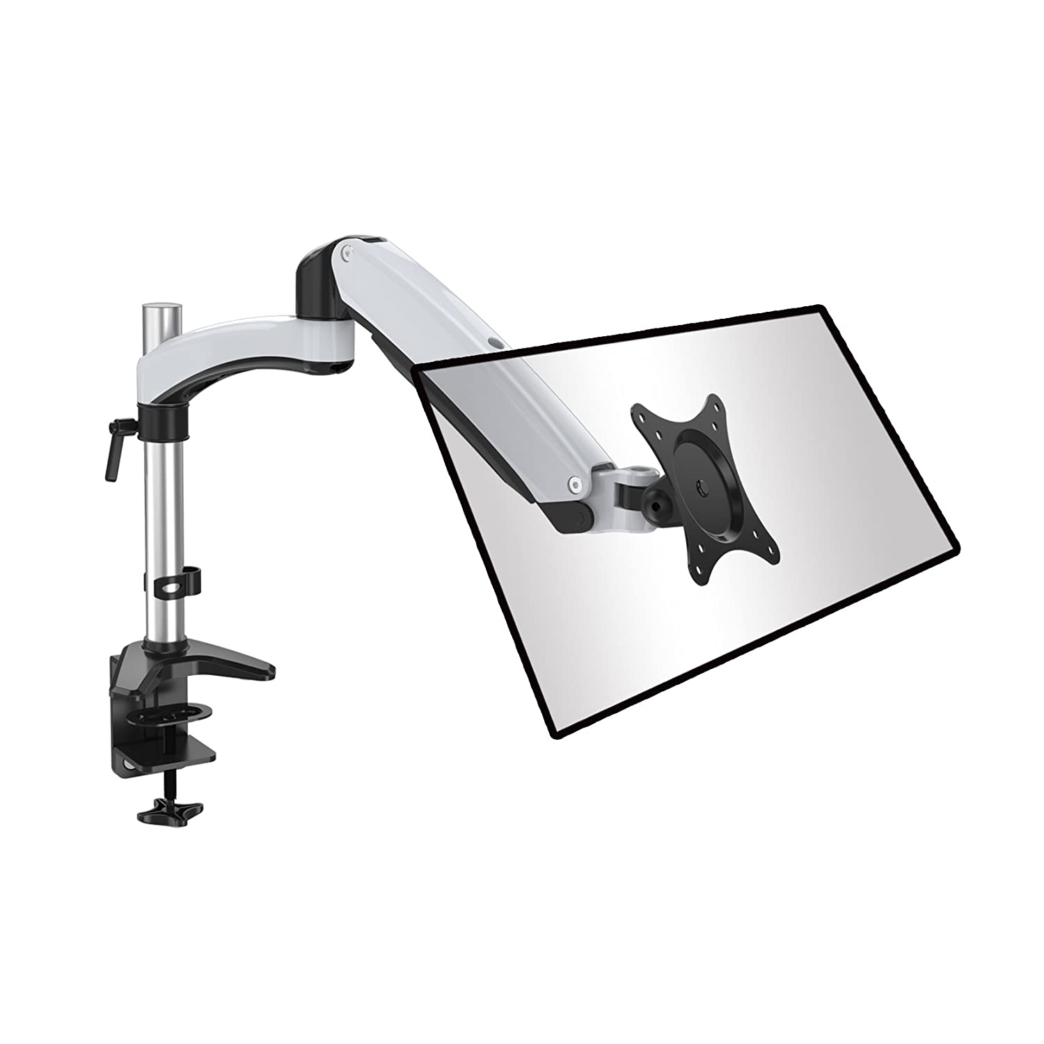 Fully Adjustable Single LCD Monitor Arm Desk Mount/Stand for Monitors up to 27, Both Desk clamp and Grommet mounting DS112D (Single) ShoppingAll