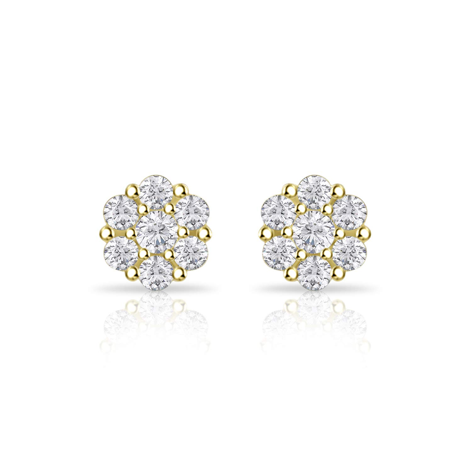 Bridal Earring Gift For Her,14k White Gold//Yellow Gold Plated Finish Silver Dew 6mm CZ Diamond Earring,Cluster Earring Stud Earring Flower Earring