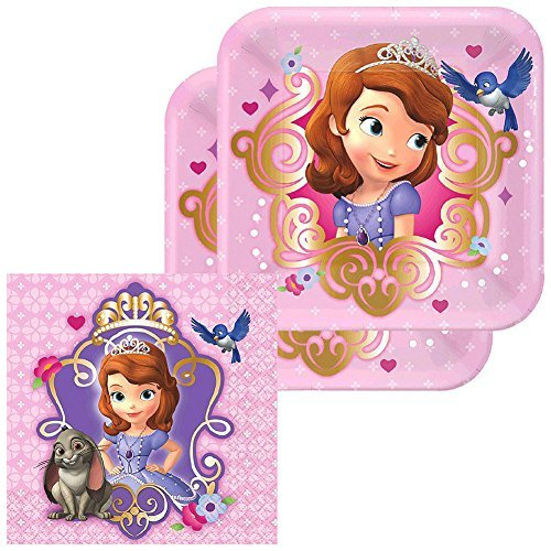 Sofia the First Party Pack for 16 Guests - 16 Dessert Plates and 16 Beverage Napkins -