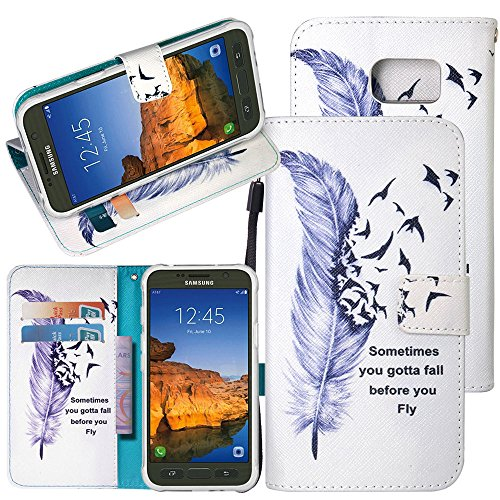S7 Active Case, Galaxy S7 Active Case, Harryshell(TM) Feather Wallet PU Leather Flip Stand View Case Cover with Card Slots & Wrist Strap for Samsung Galaxy S7 Active (C-6)