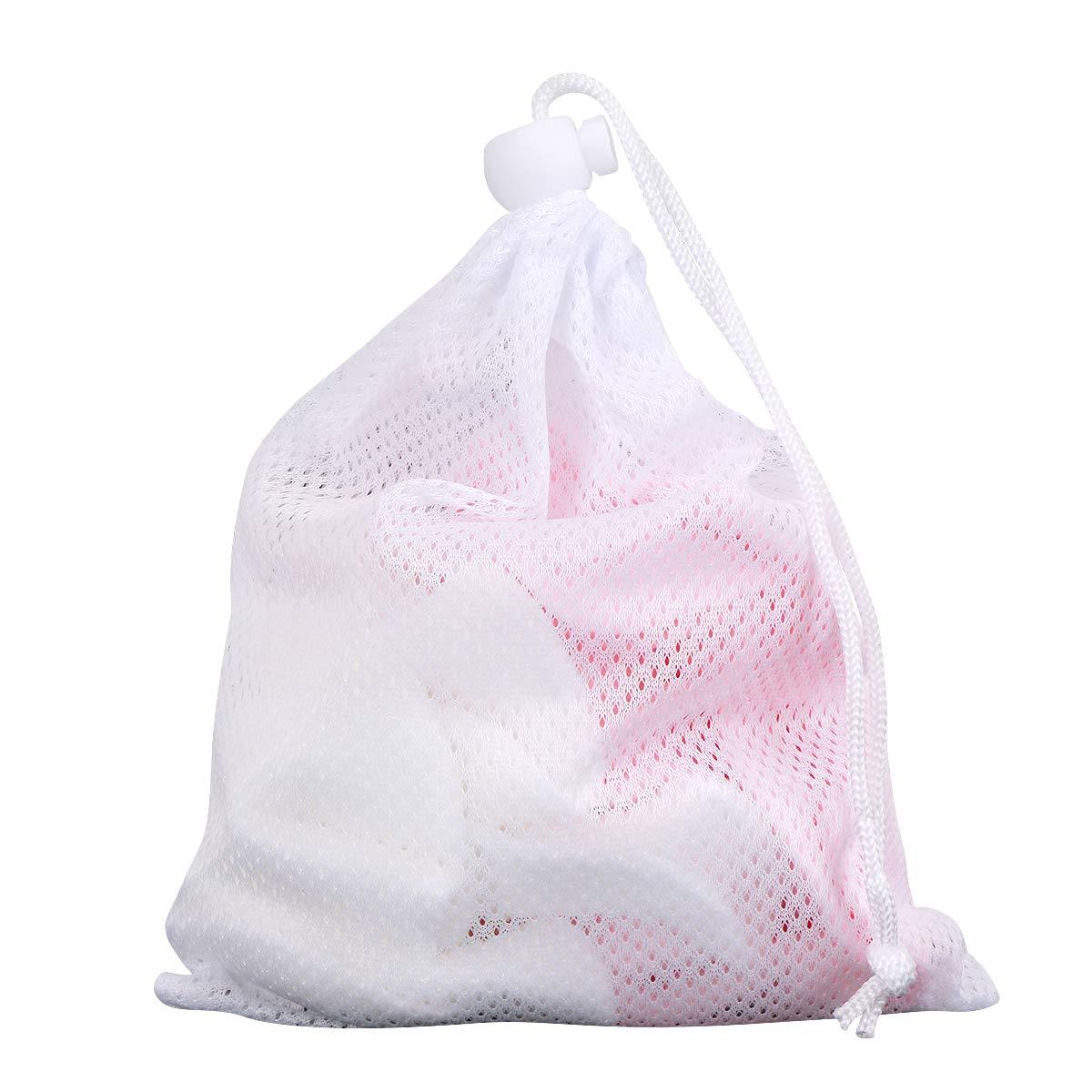 Waschbare Bambus Make-up Entferner Pads 16 Packungen, Reuseble Wattepad, weiche Reinigungstücher mit Wäschesack (pink und weiß)