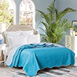 Pinsonic Quilt Queen Reversible Lightweight Feature and Durable Material Fade and Dust Mites Resistant Machine Washable Teal