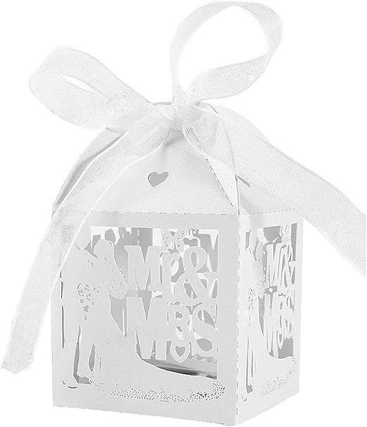 JZK® 50 x Blanco cajas favorece dulces bombones dulces confeti decoraciones para boda compromiso cumpleaños fiesta bodas banquete bodas (los novios A): Amazon.es: Hogar