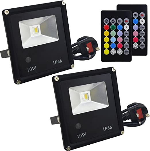 RGB Jayool LED Floodlight Outdoor,15W Colour Changing Flood Lights with Remote