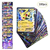 Pokemon TCG: 100 Pcs Pokemon Cards Style TCG Holo EX Full Art 80 Cards EX 20 Cards GX Puzzle Card Game Fun (B)