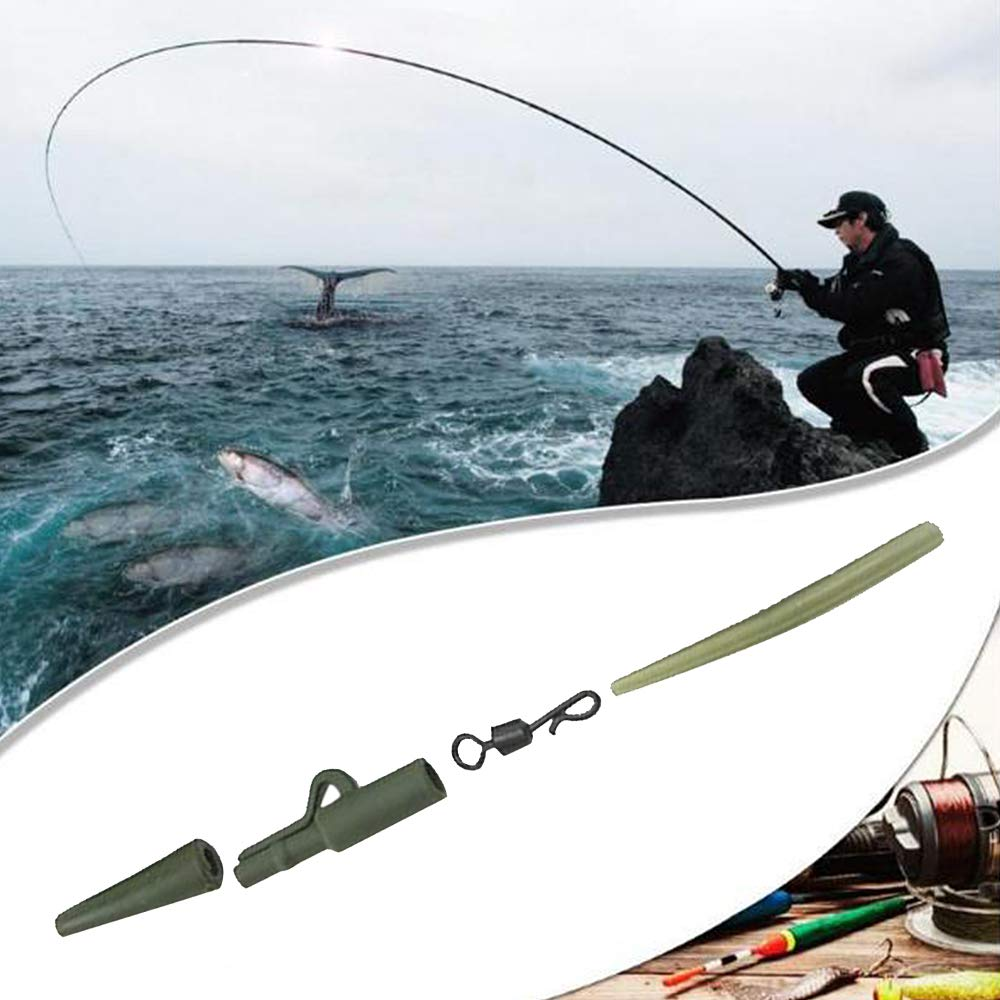 ReFaXi 40 Piezas de Pesca Abrazadera Carpa Abrazadera de Plomo Forma de Q Anillo de Cambio r/ápido Manguera Antideslizante para Pesca