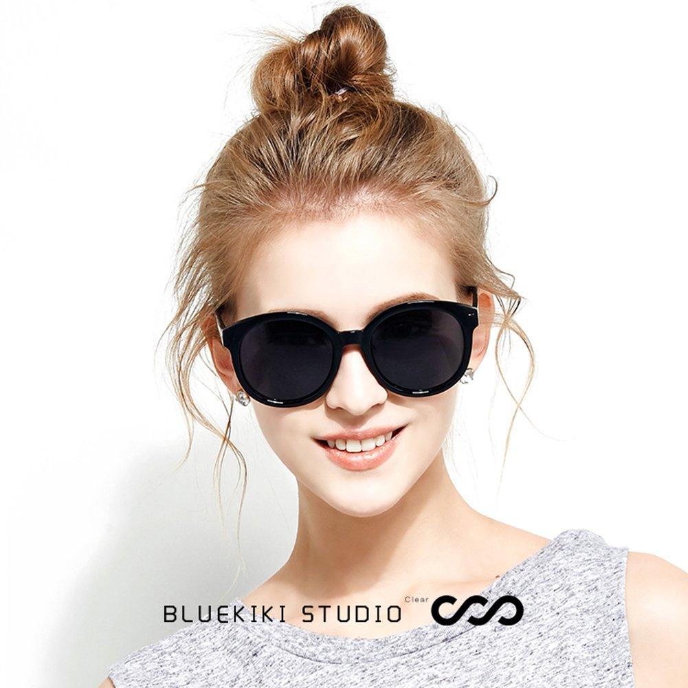 f623a070e7e2f Amazon.com  BLUEKIKI YEUX Women Polarized Sunglasses Vintage Oversized Round  Mirror(Black