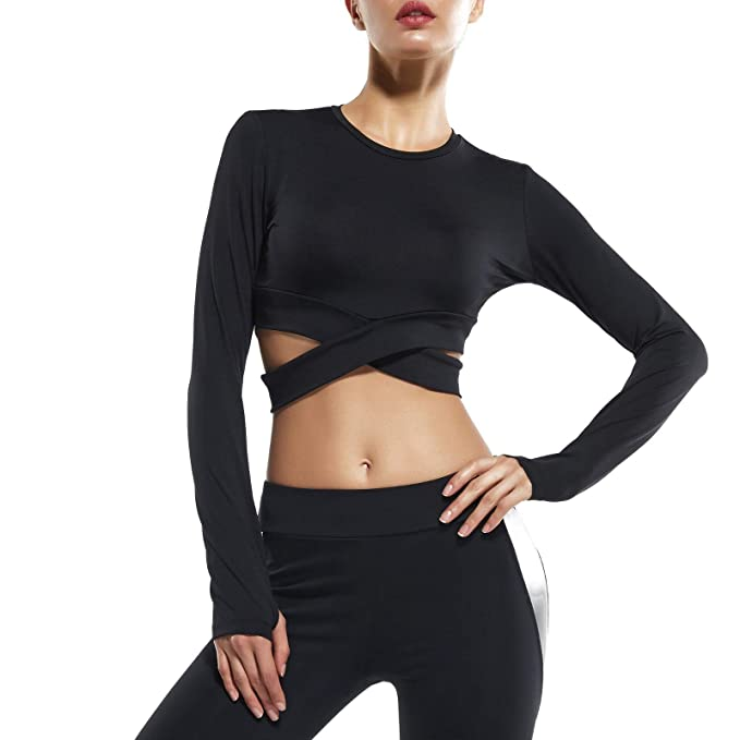 reliable reputation new high quality so cheap Womens Yoga Crop Tops Long Sleeve Thumb Holes Exercise Gym ...