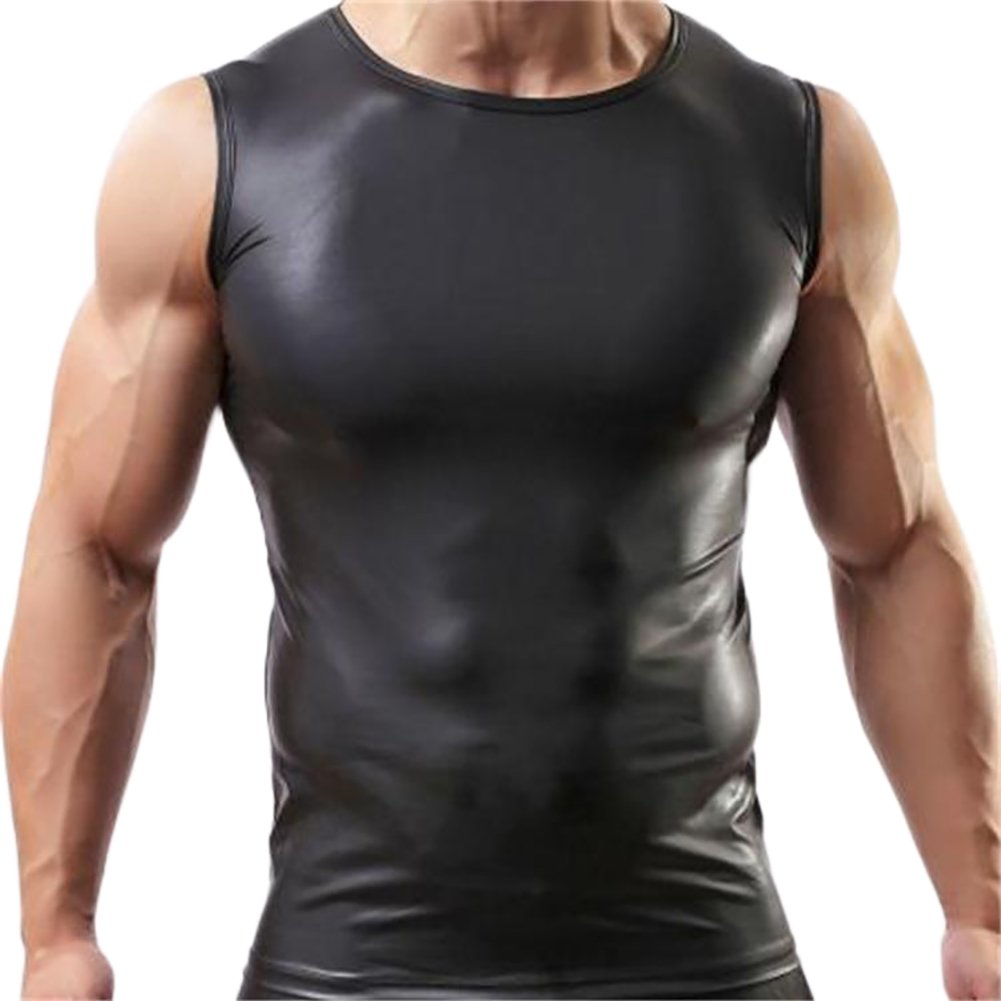 ONEFIT Mens Faux Leather Tank Top Silm Sport Vest Sleeveless Shirts