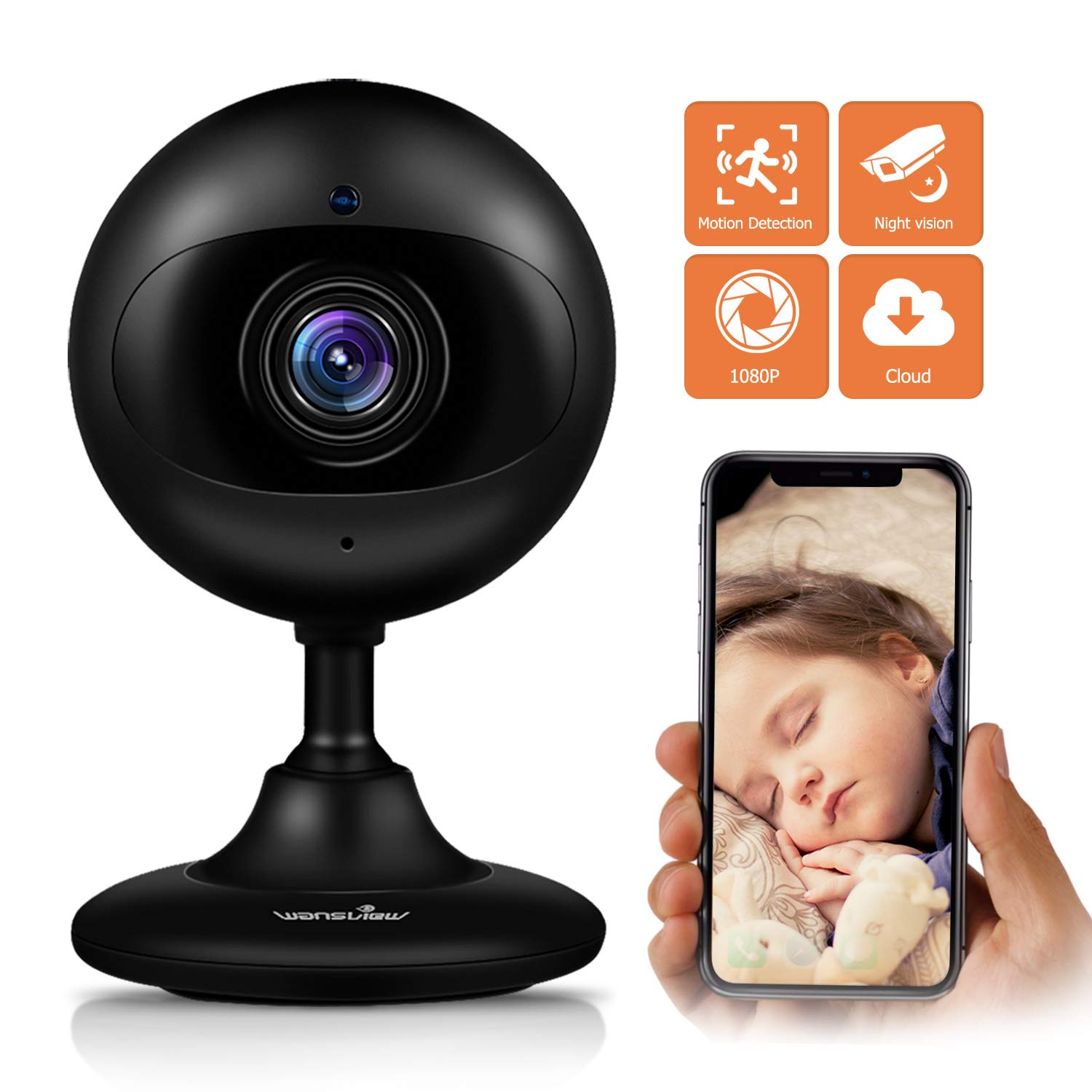 Wansview Wireless Security Camera, 1080P HD WiFi Home Indoor IP Camera with  Motion Detection, Night Vision and Two-Way Audio for Baby/Elder/Pet/Nanny-