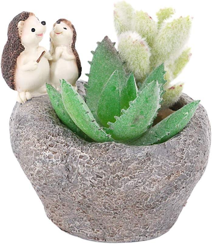 Jascaela Creative Animals Plant Pots Resin Succulent Cactus Planter Cute Cartoon Flower Pot Desktop Bonsai Container Home Office Garden Decor Hedgehog