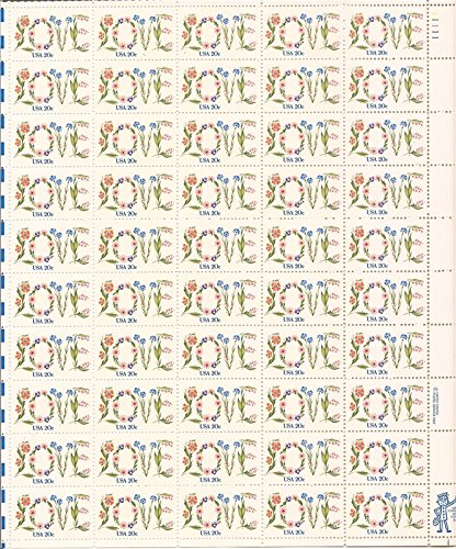 Flower Love Issue Full Sheet of 50 x 20 Cent Stamps Scott 1951 By USPS ()