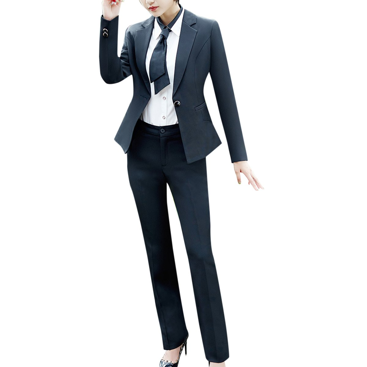 YUNCLOS Women's 4 Piece Business Office Lady Suit Set For Work Formal Blazer Vest Pant and Skirt by YUNCLOS